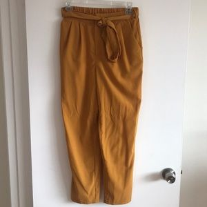 Mustard yellow high waisted trouser pants